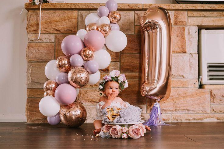 Mia's Rose Gold Garden Party   HOORAY! Mag   Balloon Garland   Foil Balloon   Pastel Balloons   Smash Cake   First Birthday Party  
