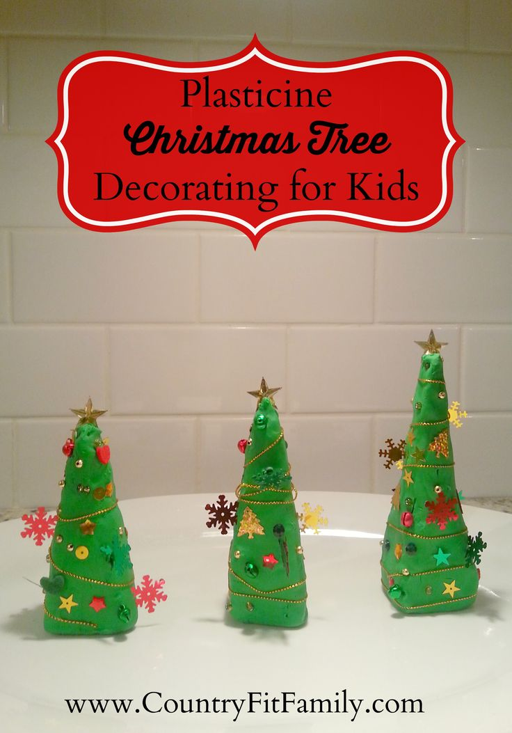 Plasticine Christmas Tree Decorating Activity for Kids. #ChristmasCraft #KidsActivity #KidsCraft