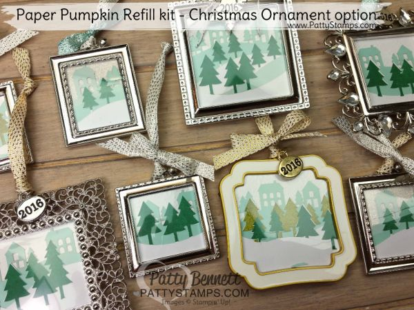 Bennett Family Christmas ornaments or frames featuring the Stampin' Up! November 2016 Paper Pumpkin crafting kits by Patty Bennett, www.PattyStamps.com