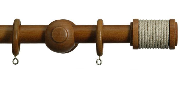 Set di Bastone per Tende con diametro da 28mm, finale Bobbin e finitura Rovere Chiaro
