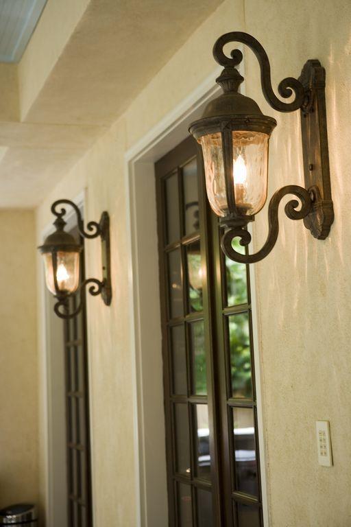 """Mediterranean Front Door with Ardmore 19 3/4"""" High Black Outdoor Wall Light"""