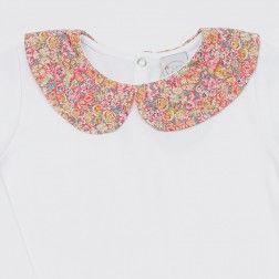 Girls´cotton top Liberty print collar - pink