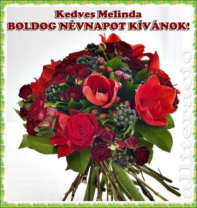 névnap, Melinda, feliratos, képek, képeslap, virágok, rózsa,