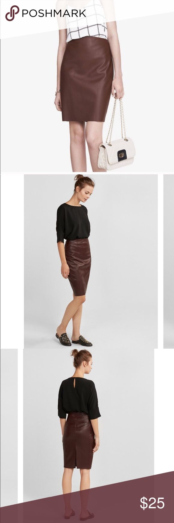 """Express faux leather brown pencil skirt Express faux leather brown pencil skirt size 2. Like new. Exact color is the first photo.  🌵Bundle deals available. I carry various sizes/brands. 🌵No trades, holds, or modeling. 🌵All reasonable offers accepted only through """"offer"""" button. No lowball offers please. 🌵Happy Poshing! Express Skirts Pencil"""