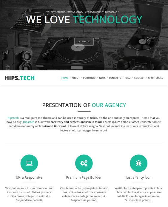 Hipstech is a responsive one page WordPress template with parallax graphics. It features mega menu, Google Web Font support, 5 page templates, 100+ shortcodes, and more.