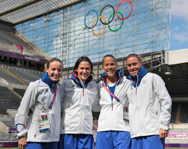 Sonia Bompastor, Elise Bussaglia, Sabrina Viguier, Camille Abily, French soccer team.  Photo F.F.F.