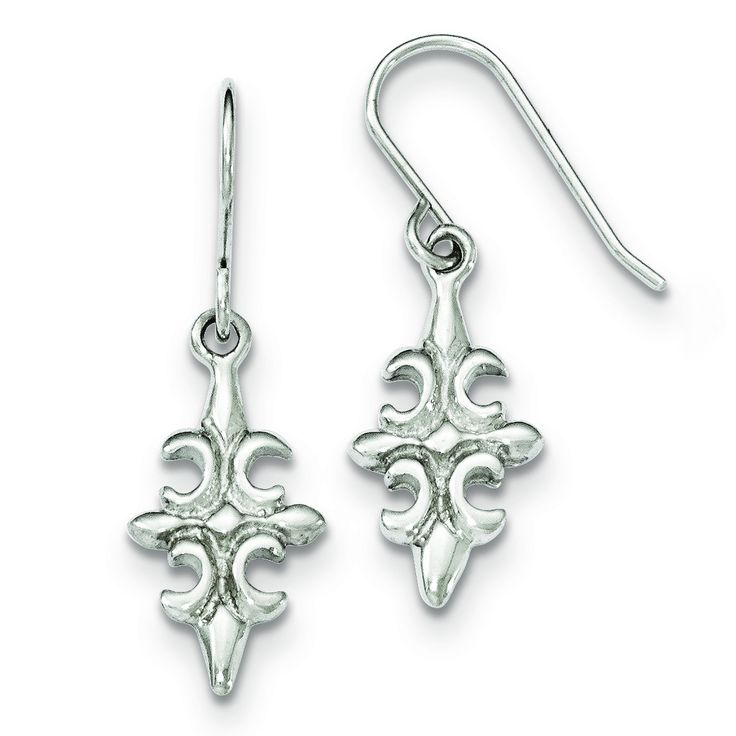 Sterling Silver Polished Fleur De Lis Dangle Shepherd Hook Earrings QE11983