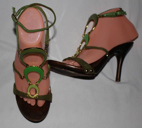 Check out this item in my Etsy shop https://www.etsy.com/listing/525401204/vintage-wild-rose-strappy-sandals-green