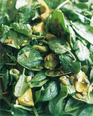 Spinach, Avocado, and Pumpkin Seed Salad -- she serves it with smoked salmon but I would serve it with warm salmon fillet