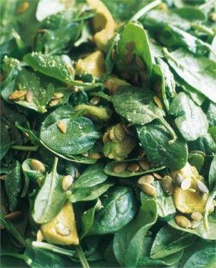 Salade épinards, avocat et graines de tournesol