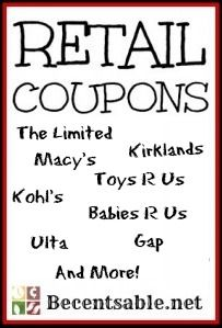 We have some new retail coupons for Babies R Us, Aeropostale, Carter's,Crabtree & Evelyn, Gap Outlet,Macy's, Express, Bath & Body Works,...