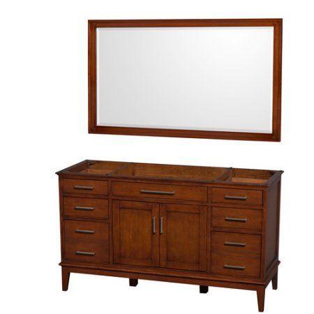 Wyndham Collection Hatton 60 inch Single Bathroom Vanity in Light Chestnut, No Countertop, No Sink, and 56 inch Mirror, Brown
