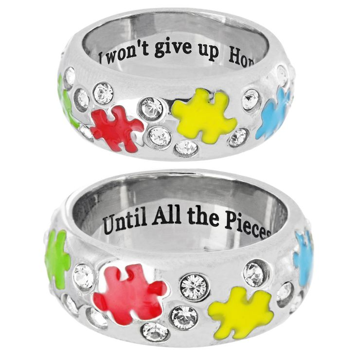Until the Pieces Fit Swarovski Crystal Ring Every Purchase Funds Research and Therapy to Help Children with Autism.