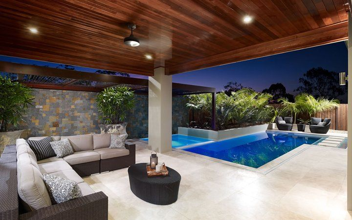 Wood ceiling, leading to pool