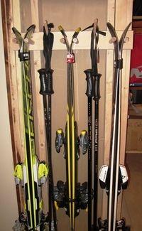 Ski Storage Rack Three Pairs Compact Garage Storage