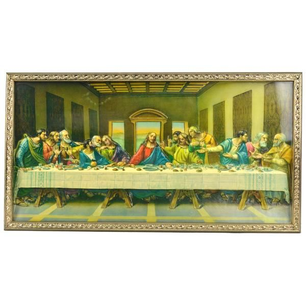 Vintage The Last Supper 3D Wall Art Religious Home Decor Framed ...