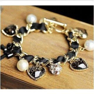 Heart Leopard Pearl Ball Bracelet Jewelry
