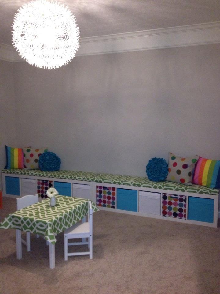 Ikea Expedit turned playroom storage bench- playroom progress so far!