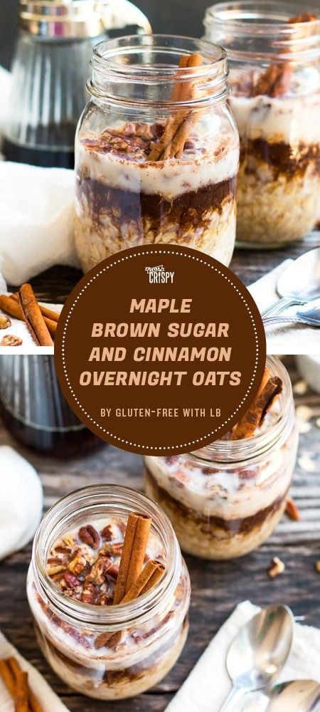 This overnight oatmeal recipe from Gluten-Free with LB is topped with brown sugar, maple syrup, and cinnamon—a classic combination of oatmeal toppings that tastes just as good on overnight oats.