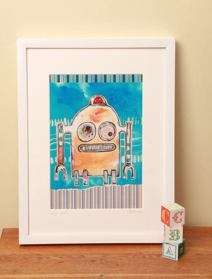 Orange Robot Fine Art Print