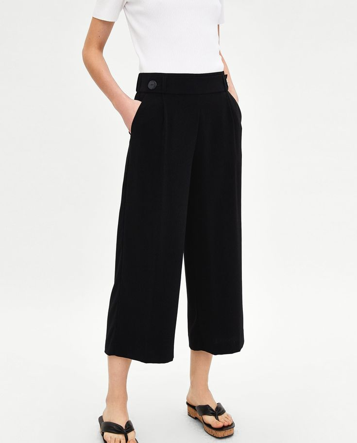 Image 3 of FLOWING CROPPED TROUSERS from Zara