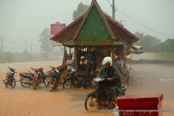 #Monsoon #rain in #Cambodia on at #Skuon, Spider Village, between Seim Reap and #Phnom Penh