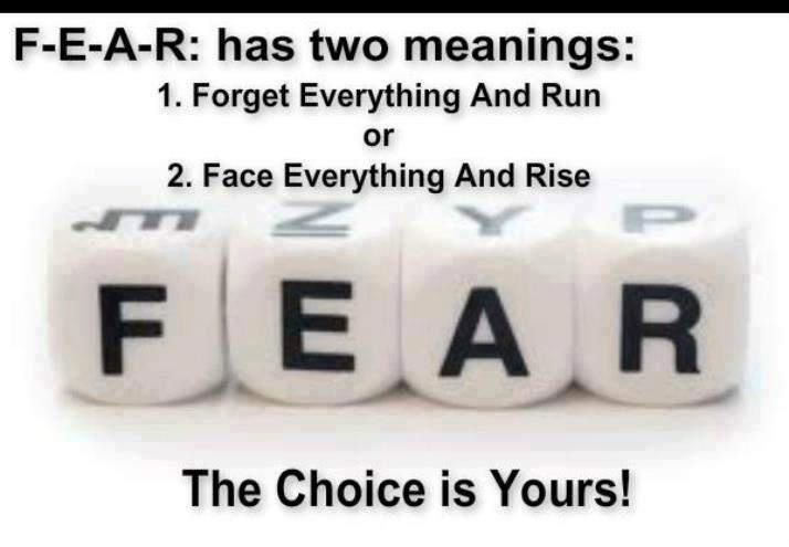 F-E-A-R: has two meanings:  1. Forget Everything And Run                       or  2. Face Everything And Rise                     FEAR        The Choice is  Yours!