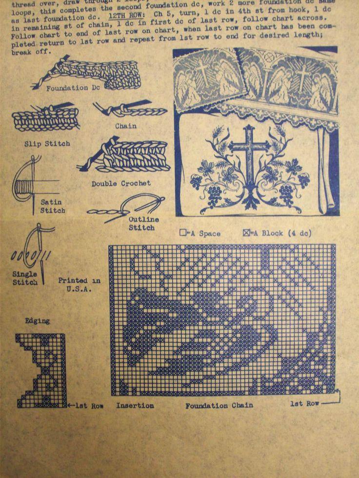 1940's Religious Cross Crochet Angels Alice Brooks Transfer Pattern Unused 6722   eBay