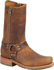 """Double H Boot Womens 11"""" Domestic Harness Boot with Zipper The stovepipe leg and exterior zipper add to the rustic style of this burnished harness. Great for stomping around Colorado!"""