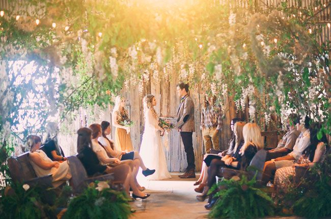 magical ceremony setup with hundreds of wisteria flowers!