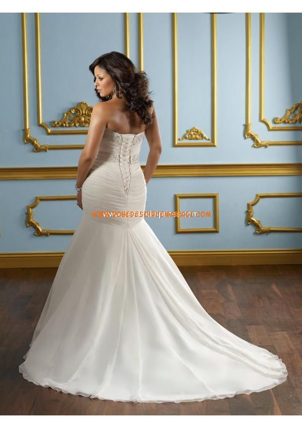 Robe de mariée grande taille sirène en mousseline broderie