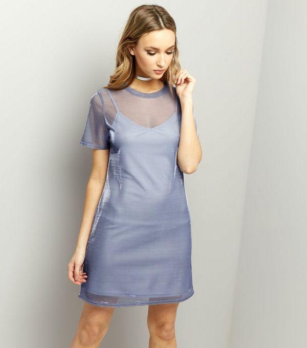 Blue Mesh Metallic 2 in 1 Dress    New Look