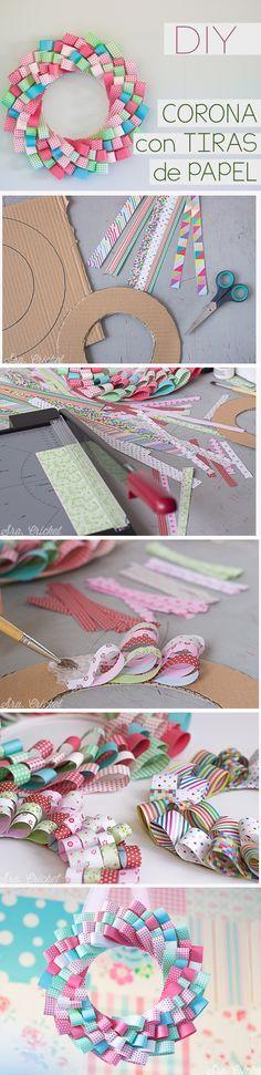 Corona de papel handame. Un tutorial DIY para hacer un corona con tiras de papel by sracricket.com