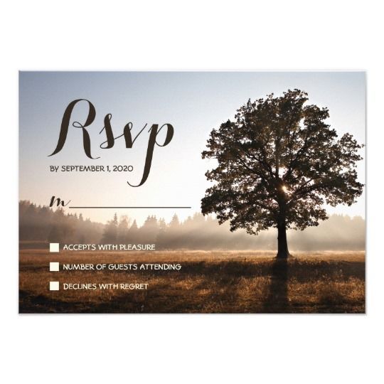 Rustic Country Tree Themed Wedding RSVP Card