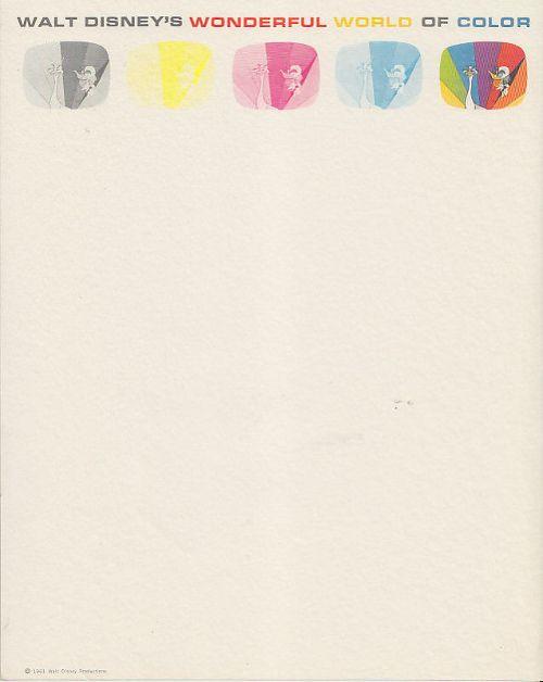 Wonderful World of Color Walt Disney Movie Letterhead Stationery