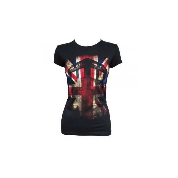 Womens Dr Who Tardis Union Jack T Shirt Black ($13) ❤ liked on Polyvore featuring tops, t-shirts, shirts, doctor who, tee-shirt, t shirt, union jack flag t shirt, union jack shirt and british flag shirt
