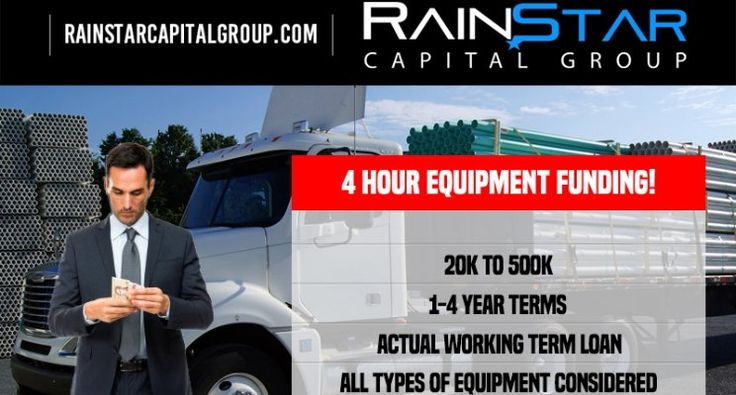 Rainstar Capital Group announced today the launch of a four hour direct lending platform for small balance equipment transactions up to five hundred thousand. For more information on Rainstar Capital Group visit rainstarcapitalgroup.com or email: Kurt Nederveld- Kurt@rainstarcapitalgroup.com!