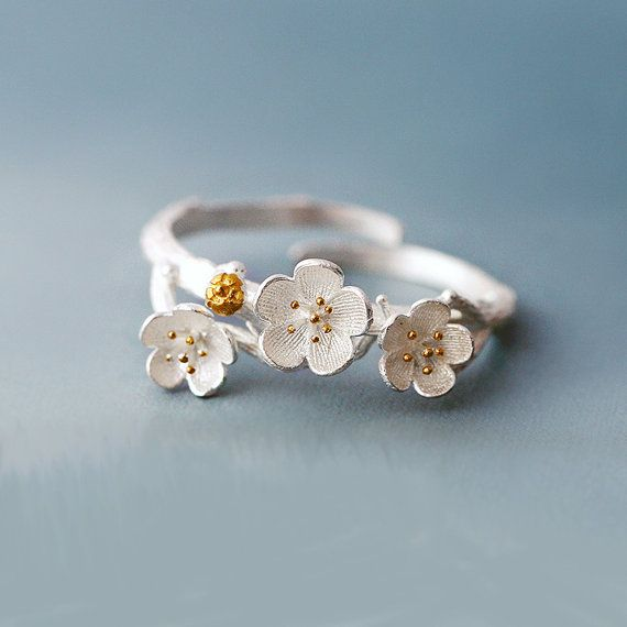 Plum Flower Ring Sterling Silver, Flower Blooms Ring, Silver Floral Jewelry, Handmade Blossom Ring, Unique silver rings