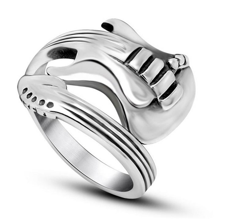 2016 New Fashion Jewelry Stainless Steel Mens Ring Titanium Steel Engraved Guitar Punk Rock Classic Silver Rings for Men