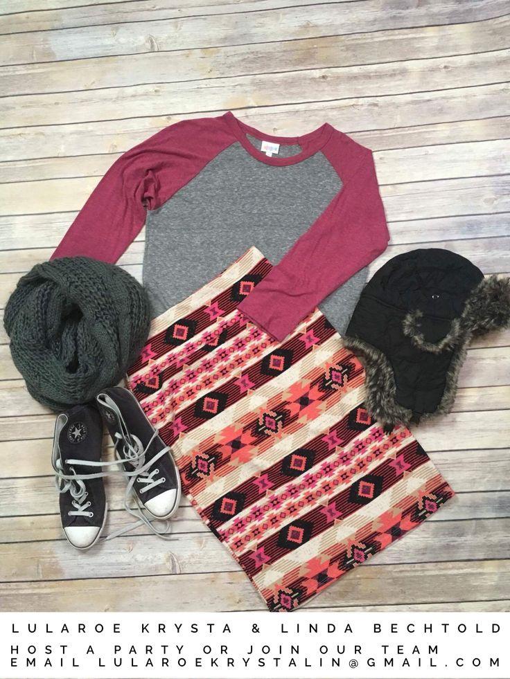 Lularoe Randy heathered gray & mauve baseball tee + Aztec design Cassie skirt. Lularoe outfit inspiration / flat lay photography