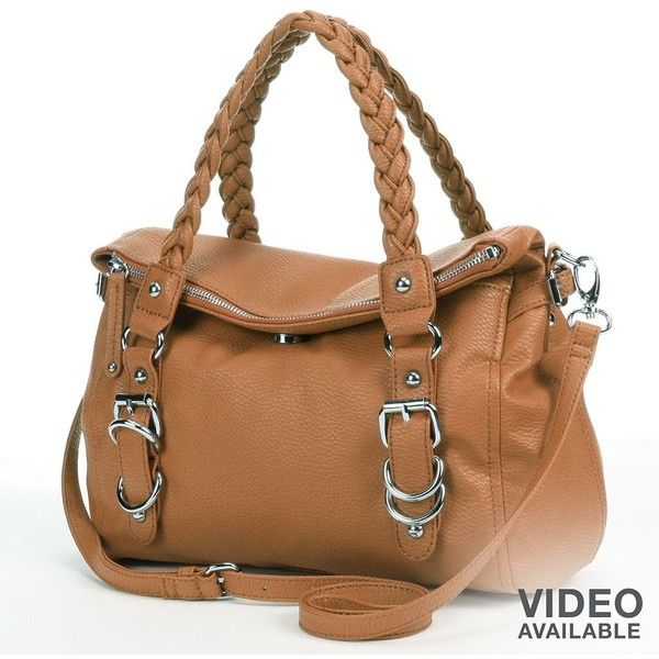Apt. 9 Brady Braided Fold-Over Satchel (Brown) ($35) ❤ liked on Polyvore featuring bags, handbags, brown, satchel handbags, brown satchel purse, brown handbags, man satchel bag and brown satchel handbag