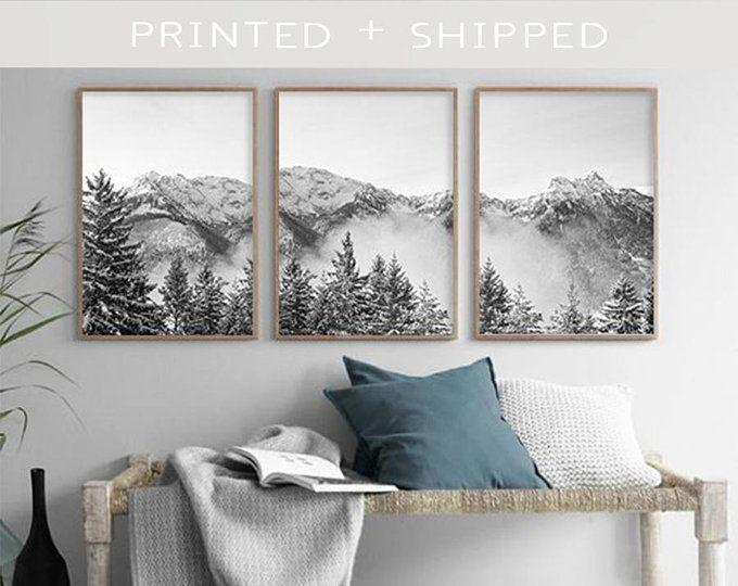 Modern Mountain Art Set Of 3 Prints Mountain Poster Art Black Etsy In 2020 Mountain Art Landscape Wall Art Art Above Bed