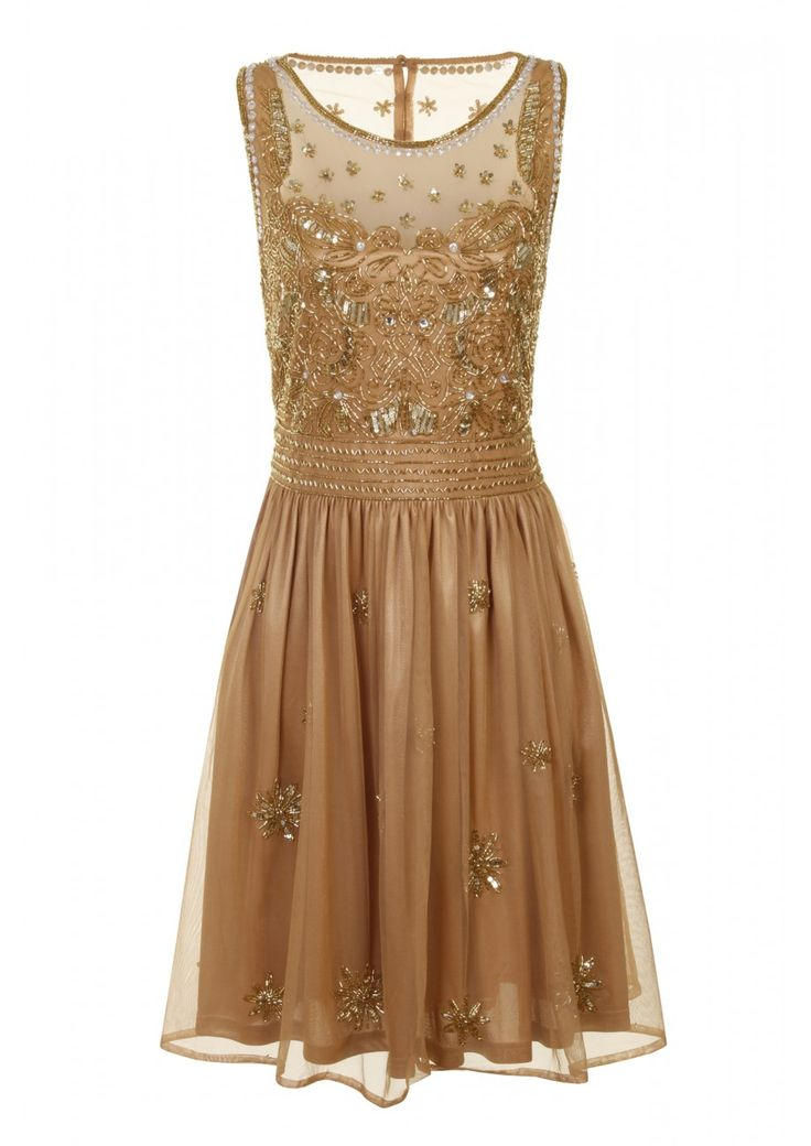 Serena embellished gem dress Tan - Clothing