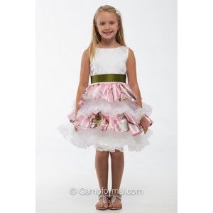 "5601 ""Lacey"" Ruffle and Lace Flower-girl Dress Camo Shown in Realtree AP PINK with White Lace and Olivino Sash. Available in many satin colors and all camo patterns in girls sizes 2-14. Made in the USA, by Camo Formal."