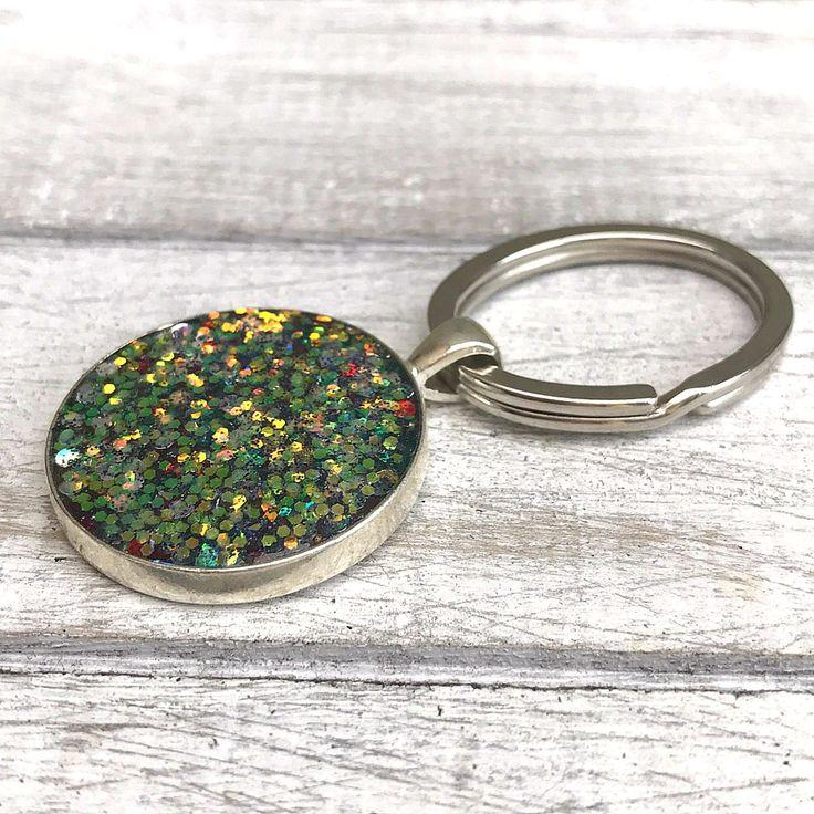 Glitter Keyring, Resin Keyring, New Home, Personalised Gift, Wedding Favour Keyring, Rainbow Glitter Gift, Bag Bling, Glitterama Keychain by nimmysjewellery on Etsy