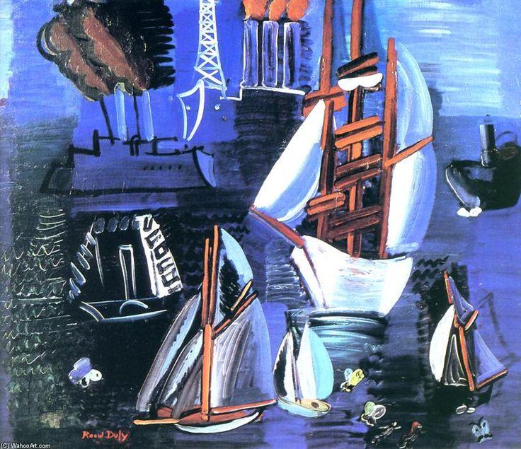 bateaux à le` havre, huile sur toile de Raoul Dufy (1877-1953, France)