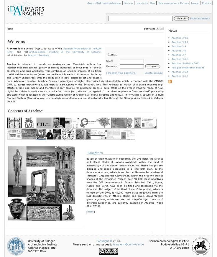 The website http://arachne.uni-koeln.de/drupal/ courtesy of @Pinstamatic (http://pinstamatic.com)