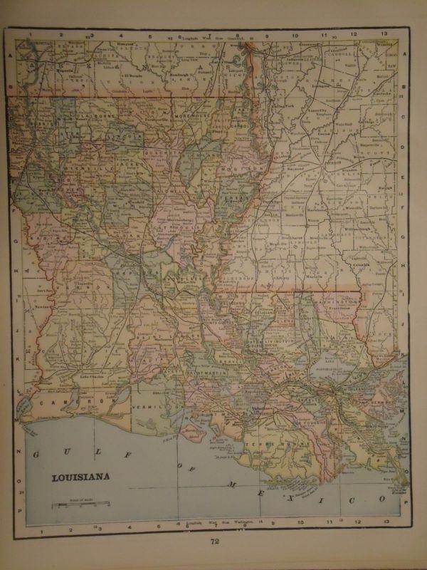 Louisiana Deer Map%0A LOUISIANA MAP ANTIQUE BATON ROUGE      OLD VINTAGE ORIGINAL MAP