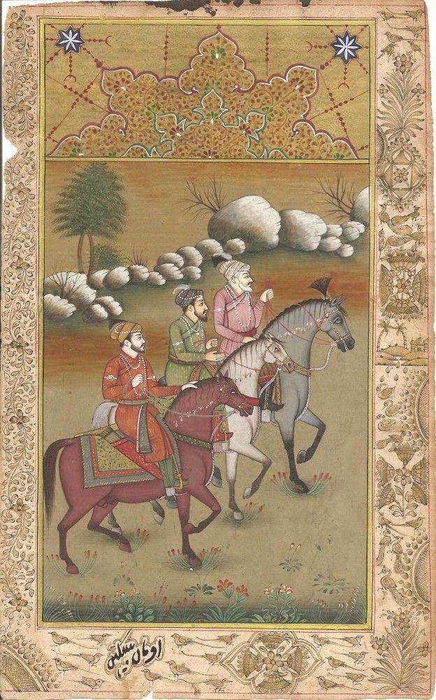 Mughal Shah Jahan & Sons Miniature Art. Shah Jahan, Dara Shikoh & Aurangzeb on an equestrian stroll.