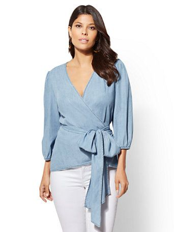 5d378327568 Shop Soho Soft Shirt - Ultra-Soft Chambray Wrap Blouse. Find your perfect  size online at the best price at New York   Company.